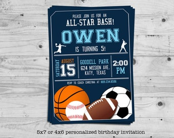 Sports birthday invitation - personalized with your child's name - basketball, football, soccer, baseball - digital / printable