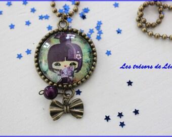 Necklace color Bronzecabochon Kokeshi