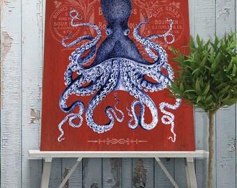 Octopus Print Prohibition on Red: Nautical print beach house decor nautical decor bathroom wall art coastal Kitchen art Octopus poster
