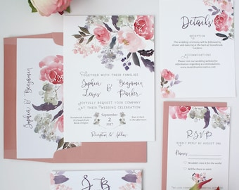 Dusty Rose Wedding Invitations - Pink and Lavender - Wedding Invitations - Dusty Rose Watercolor Floral Collection Sample Set