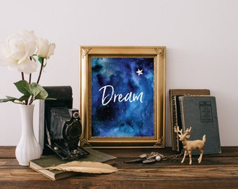 Home decor, Minimalist print, Nursery decor, Nursery print, Nursery art print, Dream print, Nursery art, Inspirational quote, BD-065