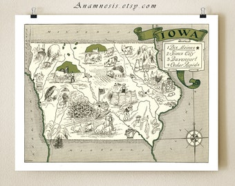 IOWA MAP PRINT - shown in moss green - personalized map - framable map art - perfect vintage map gift for many occasions - wall decor