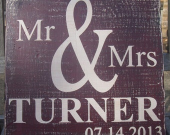 Distressed Look Wedding Date Wood Sign