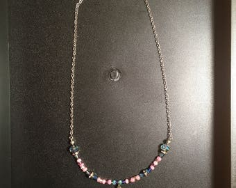 """16"""" Pink And Blue Beaded Necklace"""
