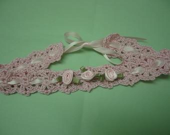 Christening Baby Headband, Crochet Baby Girl Headband, Pink Roses, Baby Girl Headband, Baby Girl Portait  Headband, Pink Roses Headband