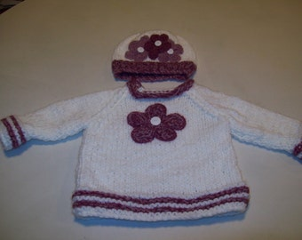 Baby Girl Sweater, Baby White Pullover, Hat Rose Pink Colored Flowers, Baby Sweater Pullover, Baby Girl Sweater Handknitted, Baby Gift