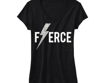 FIERCE Glitter Lightning Workout Shirt, Workout Clothes, Workout Tshirt, Gym Shirt