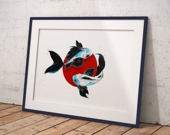 Koi fish Blue / Digital Painting Print / Wall Art /