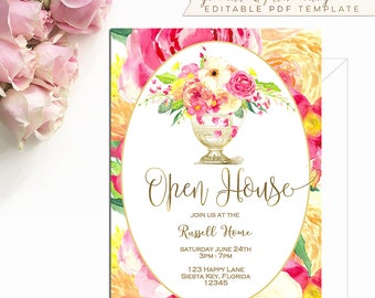 We still do anniversary invitation template vow renewal open house invitation template spring fling invite business pink peonies roses 5x7 gold editable printable modern vintage diy b107 stopboris Gallery