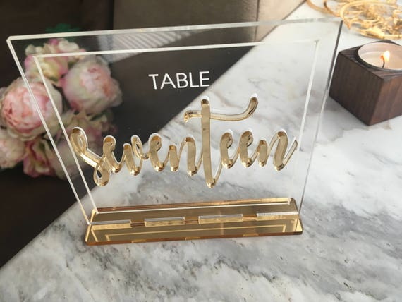 Gold Mirror Wedding Table Numbers Clear Acrylic Wedding Sign 3D Letters Table Centerpieces Freestanding Number Holder Reception Decorations