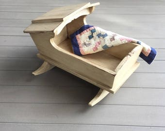 Doll Cradle Bed Antique Colonial Early American Wood