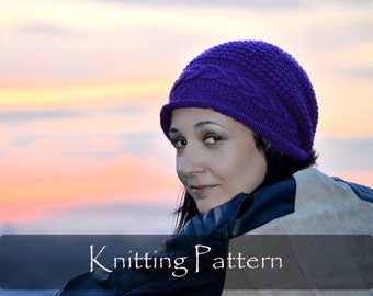 KNITTING PATTERN - Slouchy Cable Hat Women Cap Winter Knitting Pattern Cable Knit Pattern Beanie (Child, Teen, Adult) PDF - P0056