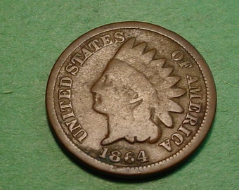 1864 Indian Head Cent Bronze  Good  <> The Coin you see is the coin you get <> Free S.H. to U.S.<> Insurance Included in SH <>ET007