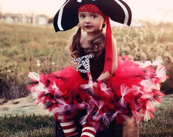 Pretty Little Pirate Tutu Dress, Hat, and Legwarmers