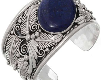 Navajo Big Boy Lapis Cuff Wide Sterling Bracelet