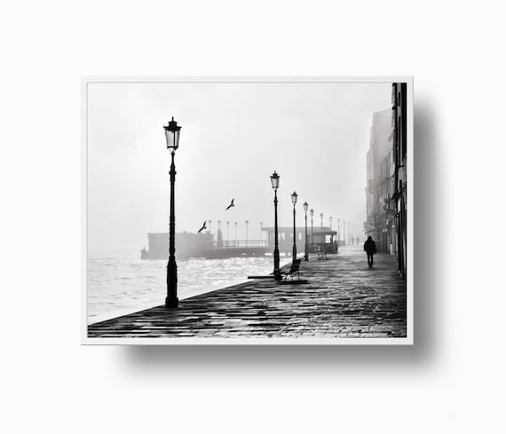 Broadwalk black and white print black white jersey shore foggy morning coast printable download moody coastal print