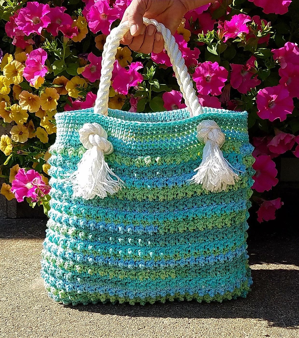 Crochet Blue Ocean Breeze Summer Beach Bag Pattern DIGITAL