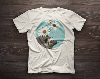 Hedgehog in love, hedgehog t-shirt, hedgehog tee, pet, love, animal, flowers, curlicue, porcupine, urchin,  hedge, hog, Valentine, love