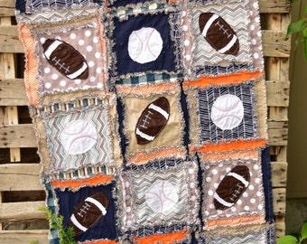 Sports Crib Bedding - Orange/ Navy / Gray Bedding Baseball Quilt - Football Quilt - Football Crib Bedding - Sports Nursery Baby Quilt