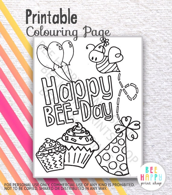 PDF PRINTABLE Colouring Coloring Page Sheet Happy Bee Day