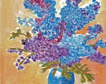 Delphinium in Vase Reproduction Painting 5x7