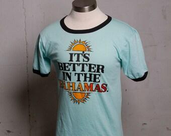 Vintage 80's Better In The Bahamas! Ringer T Shirt Mega Soft M