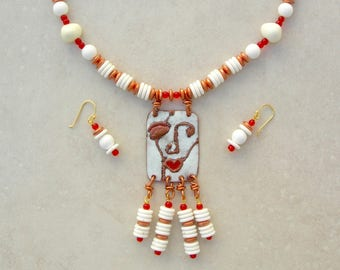 Picasso's Muse, Abstract Enameled Copper Face Pendant, Solid Copper/White Lucite/Tiny Red Glass Beads,Whimsical Necklace Set by SandraDesgns