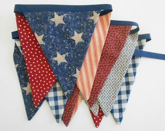 4th of July Banner / Bunting READY to SHIP Red, White and Blue/ 4th of July Patriotic Decor / Labor Day/  Americana