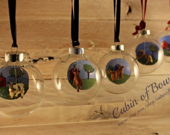 Hand-painted Personalized Farm Animal Glass Ornament