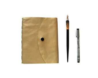 Blank Leather Journal, Leather Sketchbook with snap, Beige leather Journal