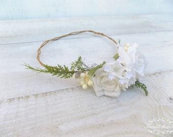 Flower girl crown First communion hair accessories girls floral crown wedding headband Holy communion hair wreath photo prop white