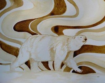 Arctic bear, Alaskan bear, Polar Bear, Aurora, coffee art