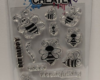 BEE Happy - A7 Clear Polymer Stamp Set by Imagine Design Create