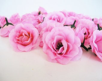 """Lot of 100 Roses Mini Silk Pink Roses 2"""" Artificial Flowers Rose Floral DIY Wedding Party Girl Simulation Hair Accessories Flower Supplies"""