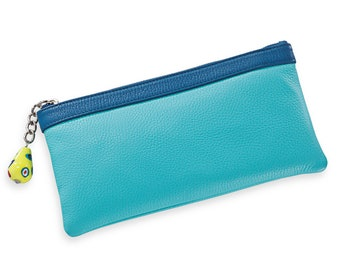 Blue Italian Leather Clutch With Venetian Glass Bead Zipper Pull | Handmade In Italy | On Sale!