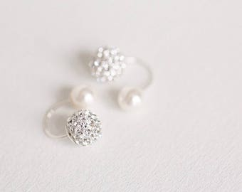 Double ball earring, Double earrings, Double stud earrings, Double sided earrings, two sided earring, ball ear jacket, silver ball stud,