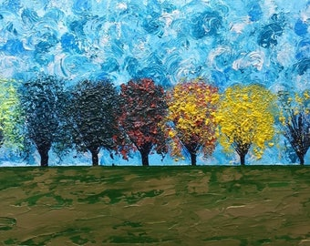 Seasons, Trees, Landscape, Acrylic Painting, Original Art, A TREE for ALL SEASONS by Suzann Kingston / *Pick Up Only