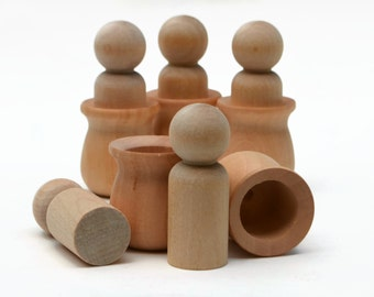 Wooden Peg Doll Pots - Wooden nesting cups - 5 med 'brother' size + 5 wooden pots Waldorf Montessori craft peg doll nesting cup Australia