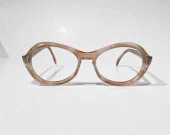 New Old Stock, Vintage Oval Round Cateye Glasses Frames, NOS, 1960s Safilo Italian Rhinestone Light Pink Tortoise Eyeglass/Sunglass Frames,