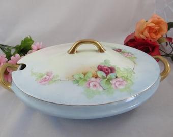 Gorgeous Hand Painted Hutschenreuther Favorite Bavarian Tureen Vegetable Dish- Stunning