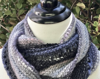 Gray, Blue, Black Cowl with Eyelets