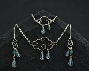 Dainty jewellery set Scottish Weather, faceted blue topaz, apatite gemstone, sterling silver cloud. Gift for girlfriend flower girl.