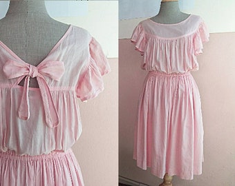 S - M - 70s Pink Back Bow Dress - Summer Linen Cotton Blend Dress - Pink Prom Dress - Pink Bridesmaid Dress - Two Pockets