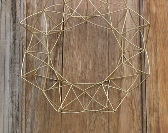 Geometric Wreath, Himmeli Inspired Wreath, Gold Wreath, Anytime Wreath, Modern  Wreath,
