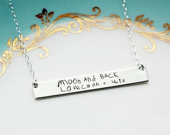 Engraved Children's Handwriting Necklace - Mother's Day Gift Idea for Mom, Gift for her, Personalized Mother's Day Gift, Custom Bar