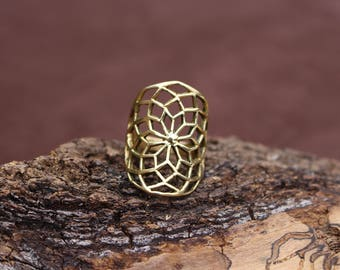 Star Of Life Brass Ring, Sacred Geometry Ring, Yoga Jewellery, Tribal Jewellery, Spiritual Ring, Handmade Ring, Bague Fleur De Vie