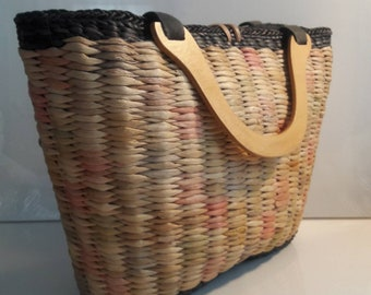 Extra Large vintage market bag with wooden top handles fully lined pastel and black straw pink lavender green yellow