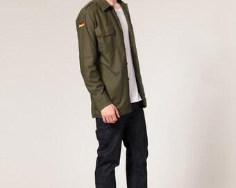 New 1980s German army olive  military shirt khaki jacket Bundeswehr old stock unissued