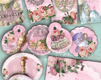 14 Marie Antoinette Tags + 1 Card - 2 digital collage sheets - Instant Download - For  invitations, cards, and other.