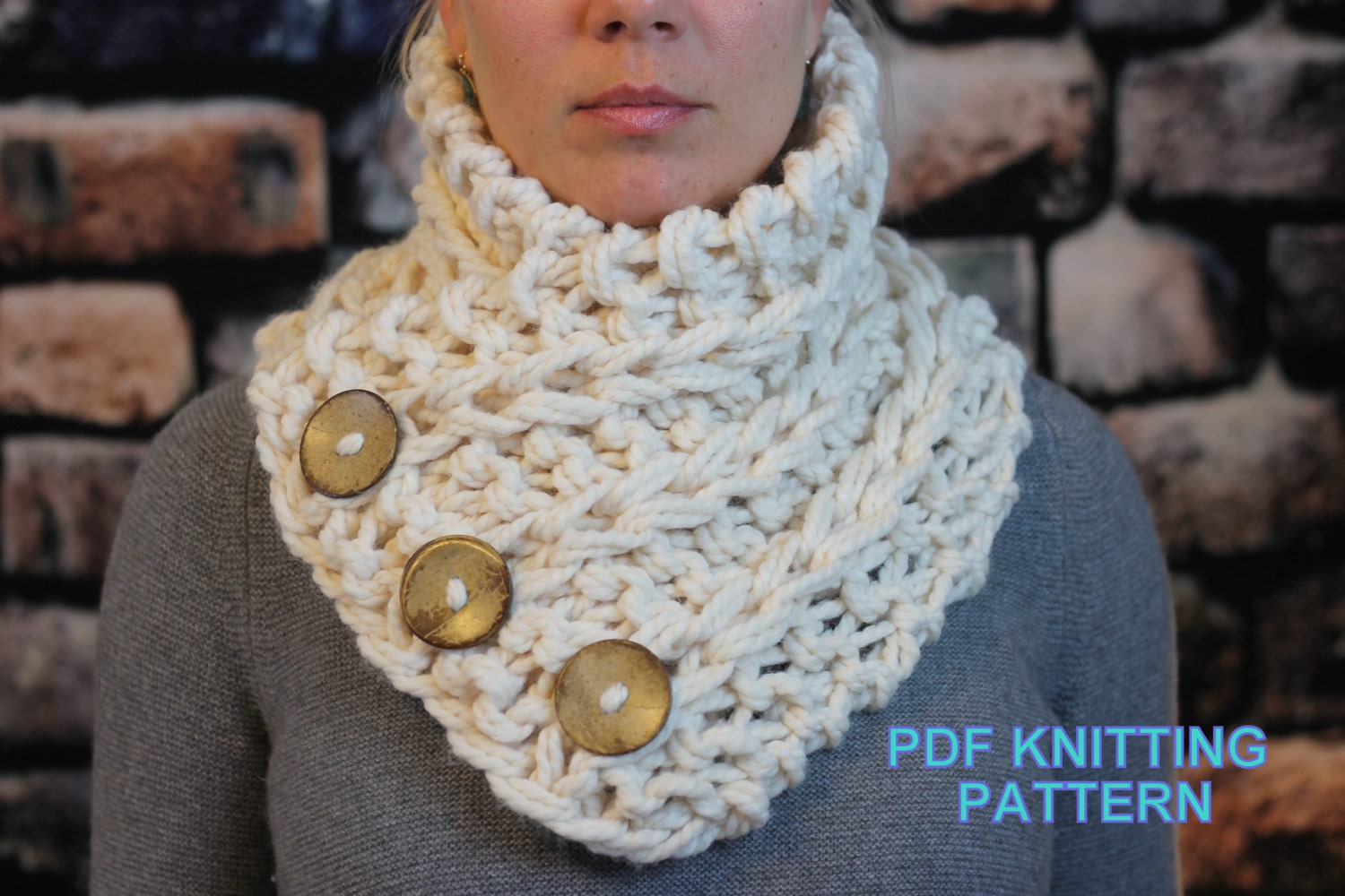 KNITTING PATTERN Beginner / 3 Button Scarf Cowl Shawl in